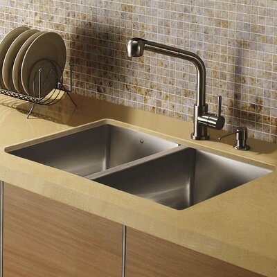 29 inch Undermount 50/50 Double Bowl 16 Gauge Stainless Steel Kitchen Sink with Avondale Stainless Steel Faucet, Two Grids, Two Strainers and Soap Dispenser