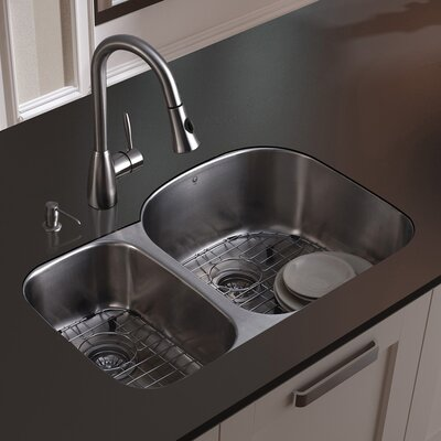 31 x 21 Double Basin Undermount Kitchen Sink with Faucet, Grid, Strainer and Soap Dispenser