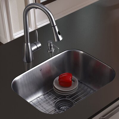 23 inch Undermount Single Bowl 18 Gauge Stainless Steel Kitchen Sink with Aylesbury Stainless Steel Faucet, Grid, Strainer and Soap Dispenser