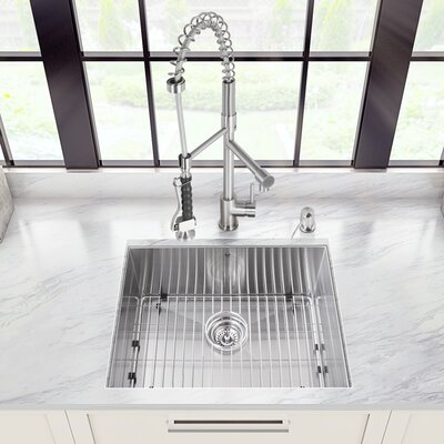 Platinum 23 x 18 Undermount Kitchen Sink with Faucet, Grid, Strainer and Soap Dispenser Faucet Finish: Stainless Steel