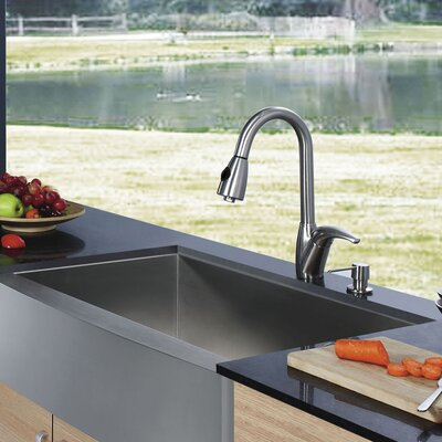 30 inch Farmhouse Apron Single Bowl 16 Gauge Stainless Steel Kitchen Sink with Romano Stainless Steel Faucet, Grid, Strainer and Soap Dispenser