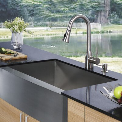 30 inch Farmhouse Apron Single Bowl 16 Gauge Stainless Steel Kitchen Sink with Aylesbury Stainless Steel Faucet, Grid, Strainer and Soap Dispenser
