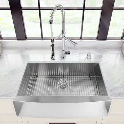 32 inch Undermount Single Bowl 16 Gauge Stainless Steel Kitchen Sink with Brant Stainless Steel Faucet, Grid, Strainer, Colander and Soap Dispenser