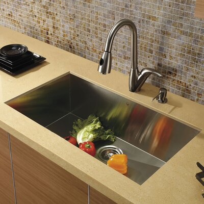 32 inch Undermount Single Bowl 16 Gauge Stainless Steel Kitchen Sink with Romano Stainless Steel Faucet, Grid, Strainer and Soap Dispenser