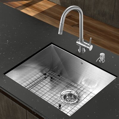 23 inch Undermount Single Bowl 16 Gauge Stainless Steel Kitchen Sink with Gramercy Stainless Steel Faucet, Grid, Strainer and Soap Dispenser