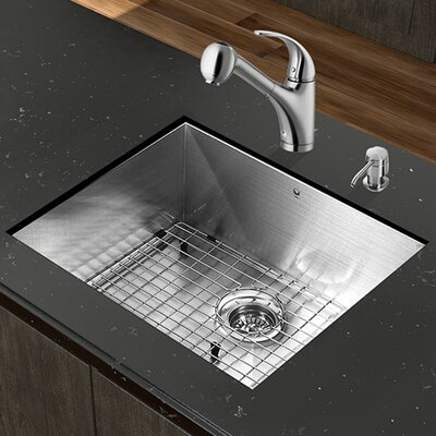 23 inch Undermount Single Bowl 16 Gauge Stainless Steel Kitchen Sink with Alexander Stainless Steel Faucet, Grid, Strainer and Soap Dispenser