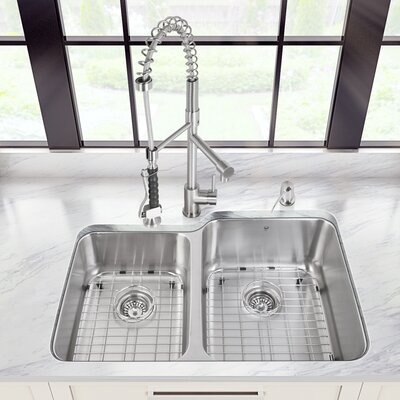 32 inch Undermount 60/40 Double Bowl 18 Gauge Stainless Steel Kitchen Sink with Zurich Stainless Steel Faucet, Two Grids, Two Strainers and Soap Dispenser