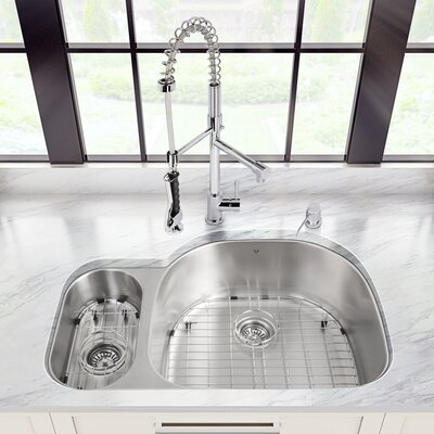 32 inch Undermount 80/20 Double Bowl 18 Gauge Stainless Steel Kitchen Sink with Zurich Chrome Faucet, Grid, Two Strainers and Soap Dispenser