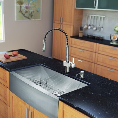 33 x 22 Farmhouse Kitchen Sink with Faucet, Grid, Strainer and Soap Dispenser