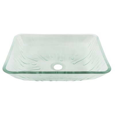 Icicles Glass Rectangular Vessel Bathroom Sink