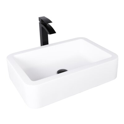 Navagio Rectangular Vessel Bathroom Sink with Faucet