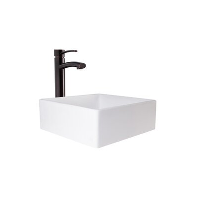 Dianthus Square Vessel Bathroom Sink with Faucet