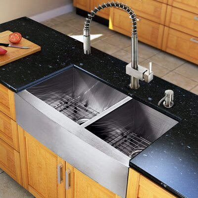 33 inch Farmhouse Apron 60/40 Double Bowl 16 Gauge Stainless Steel Kitchen Sink with Lincroft Stainless Steel Faucet, Two Grids, Two Strainers and Soap Dispenser