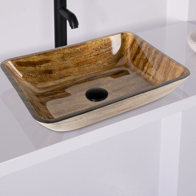 Amber Sunset Glass Rectangular Vessel Bathroom Sink