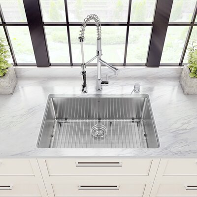 30 inch Undermount Single Bowl 16 Gauge Stainless Steel Kitchen Sink with Zurich Chrome Faucet, Grid, Strainer and Soap Dispenser Faucet Finish: Chrome