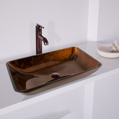 Fusion Glass Rectangular Vessel Bathroom Sink with Faucet Finish: Russet
