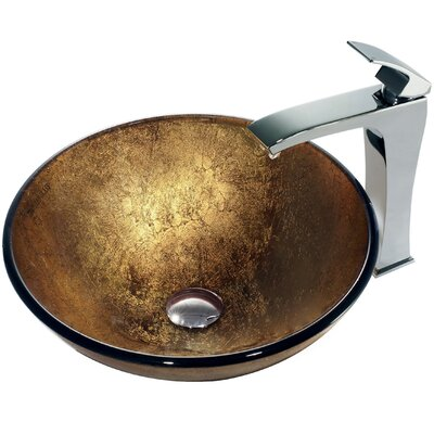 Liquid Gold Glass Circular Vessel Bathroom Sink
