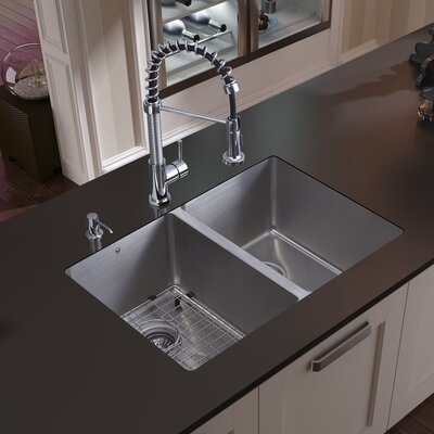 29 inch Undermount 50/50 Double Bowl 16 Gauge Stainless Steel Kitchen Sink with Edison Chrome Faucet, Two Grids, Two Strainers and Soap Dispenser