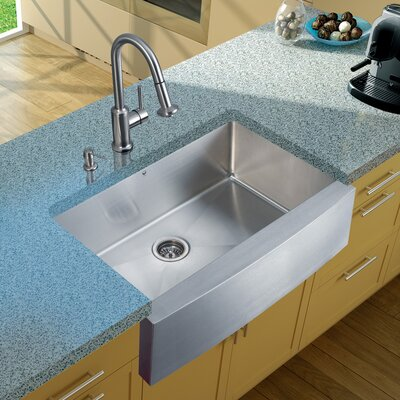 33 x 22 Farmhouse/Apron Kitchen Sink with Astor Faucet, Grid, Strainer and Soap Dispenser