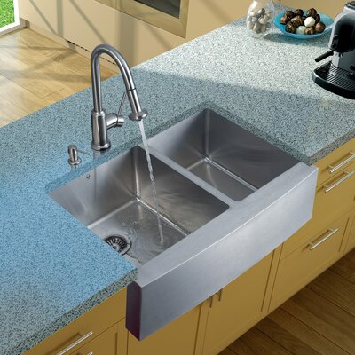 33 x 22 Double Basin Farmhouse/Apron Kitchen Sink with Astor Faucet, Two Grids, Two Strainers and Soap Dispenser