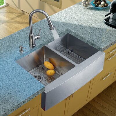 33 inch Farmhouse Apron 60/40 Double Bowl 16 Gauge Stainless Steel Kitchen Sink with Astor Stainless Steel Faucet, Two Grids, Two Strainers and Soap Dispenser