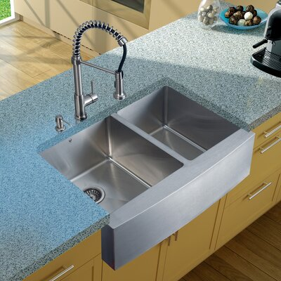 33 inch Farmhouse Apron 60/40 Double Bowl 16 Gauge Stainless Steel Kitchen Sink with Edison Stainless Steel Faucet, Two Grids, Two Strainers and Soap Dispenser