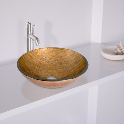 Amber Sunset Glass Circular Vessel Bathroom Sink Sink Finish: Brushed Nickel