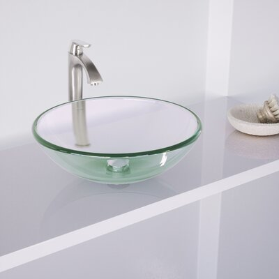 Crystalline Glass Circular Vessel Bathroom Sink with Faucet Faucet Finish: Brushed Nickel