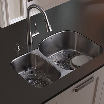Double Bowl Stainless Steel Undermount Kitchen Sink Set