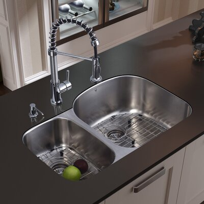 31 inch Undermount 70/30 Double Bowl 18 Gauge Stainless Steel Kitchen Sink with Edison Chrome Faucet, Two Grids, Two Strainers and Soap Dispenser