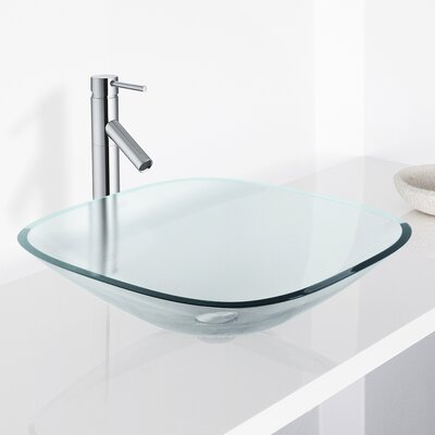Crystalline Glass Square Vessel Bathroom Sink