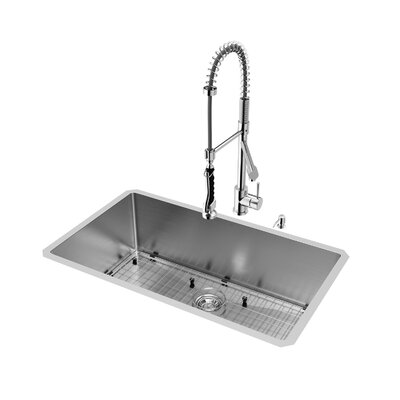 32 inch Undermount Single Bowl 16 Gauge Stainless Steel Kitchen Sink with Zurich Chrome Faucet, Grid, Strainer and Soap Dispenser Faucet Finish: Chrome