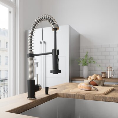Edison Pull Down Single Handle Kitchen Faucet Finish: Stainless Steel/Matte Black