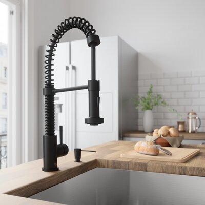 Edison Pull Down Single Handle Kitchen Faucet Finish: Matte Black