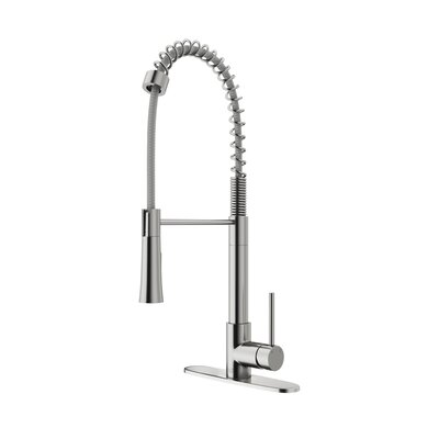 Laurelton Pull Down Single Handle Kitchen Faucet Finish: Stainless steel
