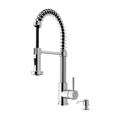 Edison Pull Down Single Handle Kitchen Faucet with Soap Dispenser Finish: Chrome
