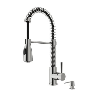 Brant Pull Out Single Handle Kitchen Faucet with Soap Dispenser Finish: Stainless Steel