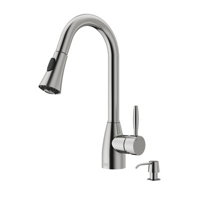 Aylesbury Pull Out Single Handle Kitchen Faucet with Soap Dispenser Finish: Stainless Steel