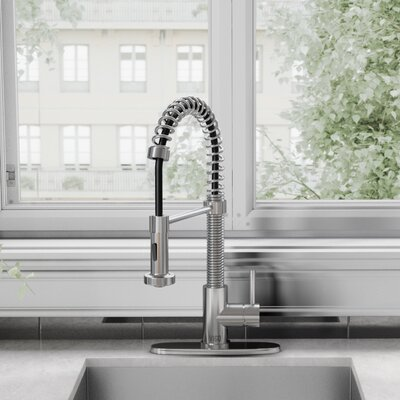 Edison Pull Down Single Handle Kitchen Faucet Finish: Chrome