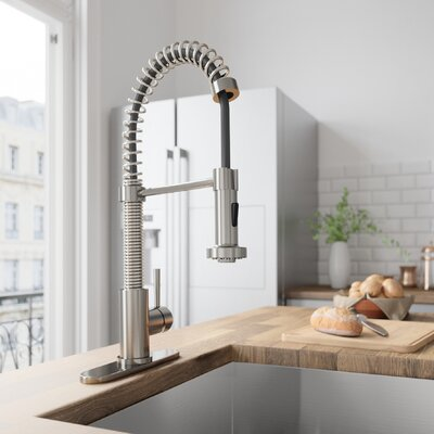 Edison Pull Down Single Handle Kitchen Faucet Finish: Stainless Steel