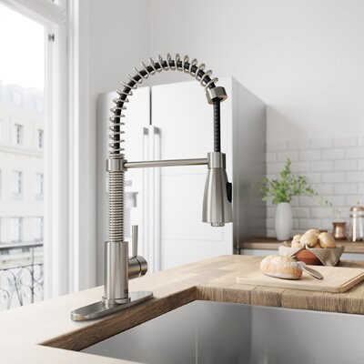 Brant Pull Out Single Handle Kitchen Faucet Finish: Stainless Steel