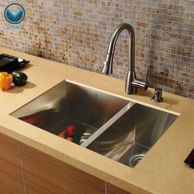 Undermount Double Bowl Kitchen Sink with Faucet and Soap Dispenser in Satin