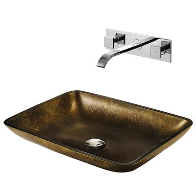 Copper Glass Circular Vessel Bathroom Sink with Faucet