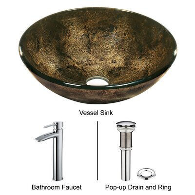 Sintra Tempered Glass Vessel Sink with Faucet in Chrome