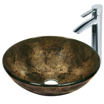 Sintra Glass Circular Vessel Bathroom Sink with Faucet