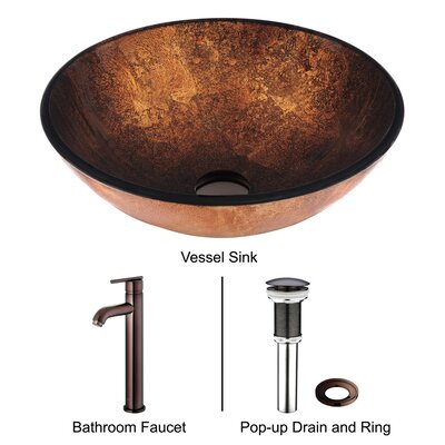 Russet Glass Vessel Sink with Faucet in Oil Rubbed Bronze
