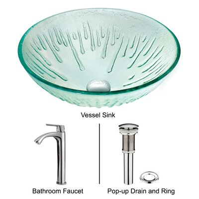Icicles Tempered Glass Vessel Sink with Faucet in Chrome