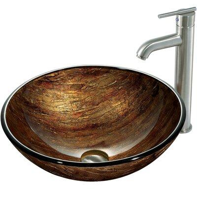 Amber Sunset Glass Circular Vessel Bathroom Sink Sink Finish: Brushed Nickel