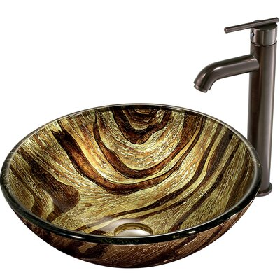 Zebra Glass Circular Vessel Bathroom Sink Sink Finish: Oil Rubbed Bronze