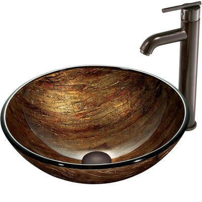Amber Sunset Glass Circular Vessel Bathroom Sink Sink Finish: Oil Rubbed Bronze